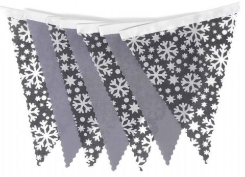 CHRISTMAS BUNTING  White on Grey Snowflakes & Plain Grey - 3m - 14 flags (single-sided)